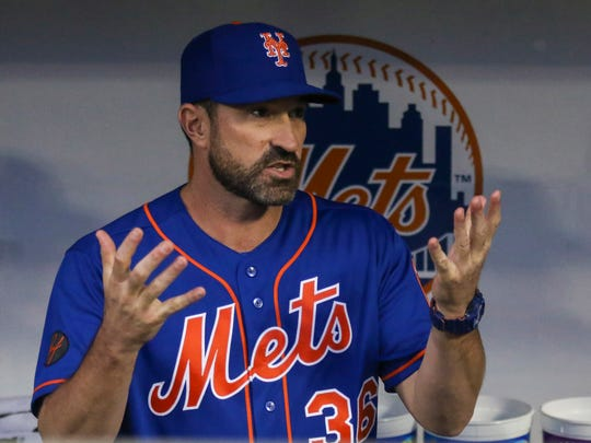 New York Mets manager Mickey Callaway (36) prior to Tuesday's game.