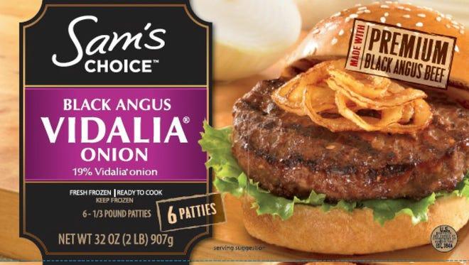 Sam's Choice Black Angus beef patties with 19 percent Vidalia Onion.