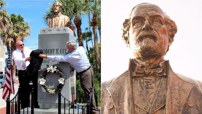 The Confederate Gen. Robert E. Lee Memorial is located on Monroe Street in Fort Myers, Florida. It was erected in 1966 by the United Daughters of the Confederacy with assistance from Lee County citizens.