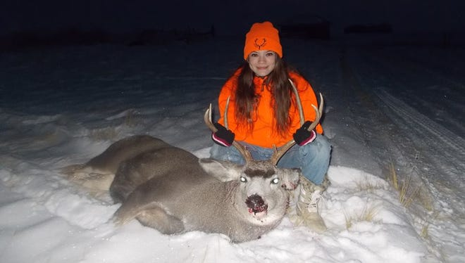 Tara Robins got her first deer while hunting in North Toole County in November.