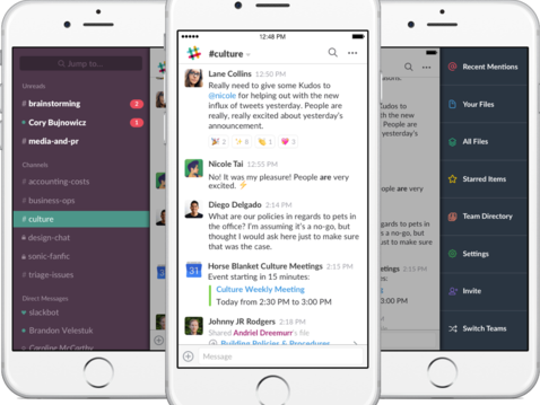 Slack allows groups of users to communicate in an on-going