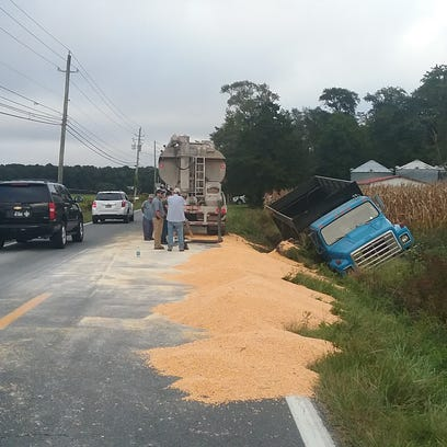 A truck carrying corn overturned on Bishopville Road