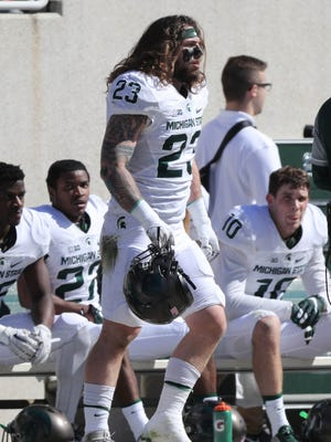Michigan State linebacker Chris Frey on the sidelines during the spring game at Spartan Stadium April 1, 2017.