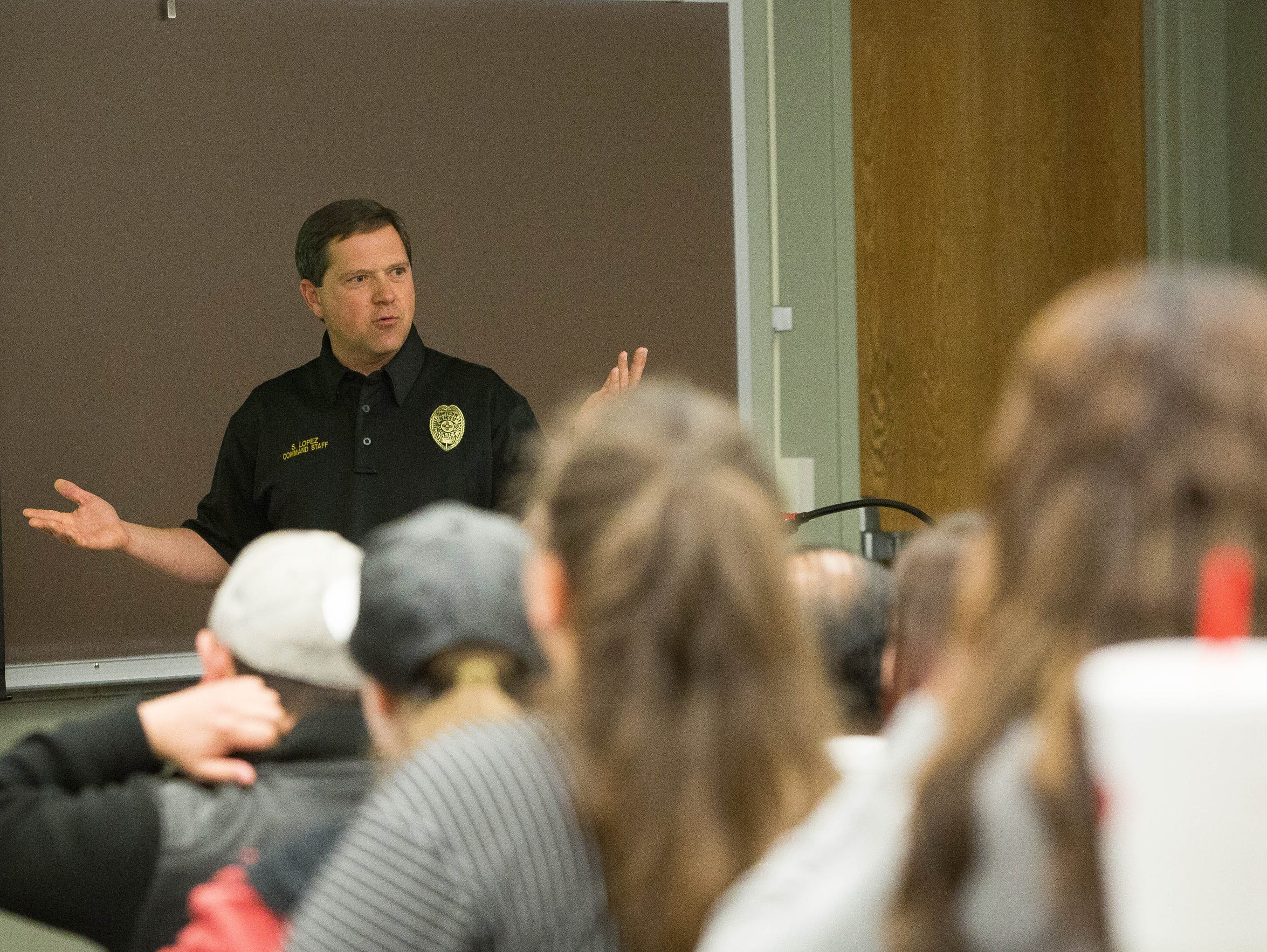 Stephen Lopez, New Mexico State University chief of police, talks about gun safety during a forum at NMSU, Thursday, March 1, 2018.