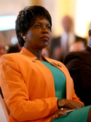 """Four state legislators, who are also Florida A&M University alumni, say the Board of Trustees and its Chairman Rufus Montgomery are close to """"bullying"""" the university's president Elmira Mangum, pictured here."""