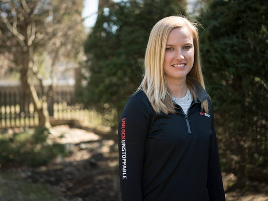 Kaitlyn Kiely will be running the Boston Marathon route while pushing her boyfriend Matt Wetherbee in a racing wheelchair. Kiely on Saturday, March 31, 2018.