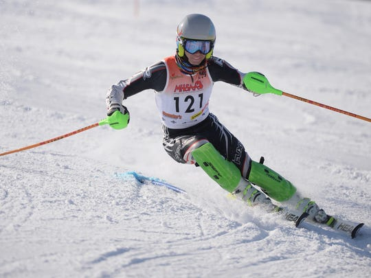 Mitchell Krass from Harrison/North in the slalom course at Pine Knob Feb. 14, 2018.