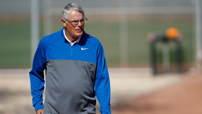 Former Reds manager Lou Piniella arrives at the back fields during practice at the Cincinnati Reds training complex in Goodyear, Ariz., on Wednesday, Feb. 21, 2018.