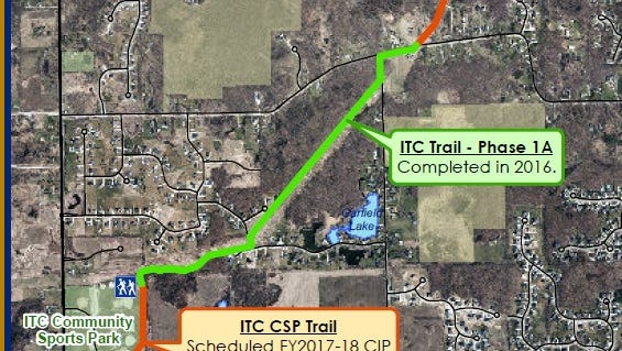 A detail from a map of the ITC Trail. A state grant may help buy land for a park at Nine Mile and Garfield, near where the green and red lines meet. The green line represents a segment of the trail completed this year, while the red represents future trail development.