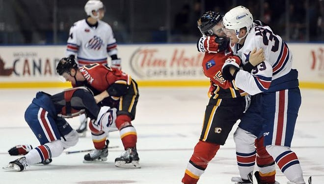 The Rochester Americans and Adirondack Flames brawled with two minutes left in the game.