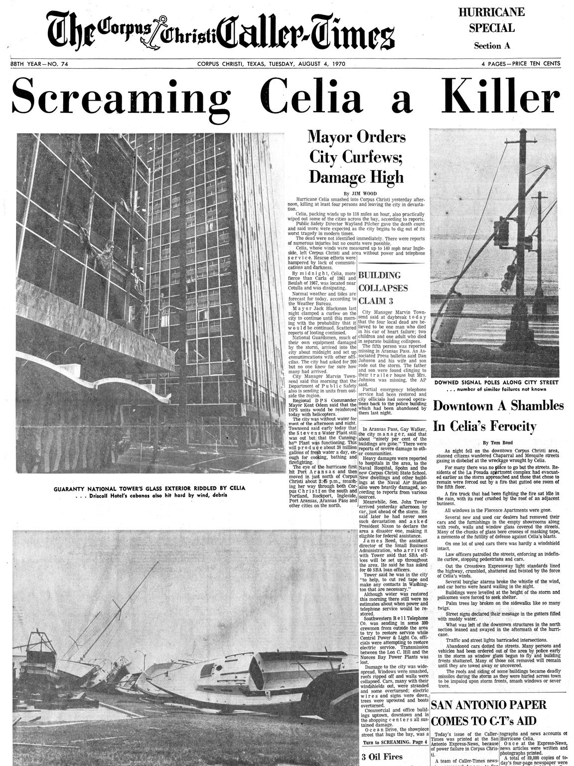 The front page of the Caller-Times carried news of Hurricane Celia after the storm made landfall in Corpus Christi on Aug. 3, 1970.