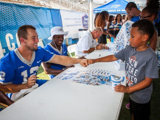 MTSU quarterback Brent Stockstill (12) and wide receiver