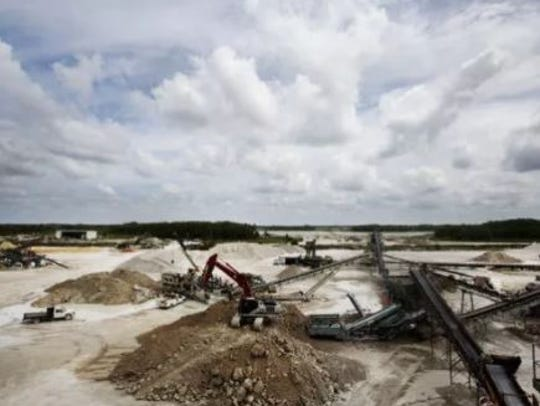 Lime rock mining in Bonita Springs can be seen in this