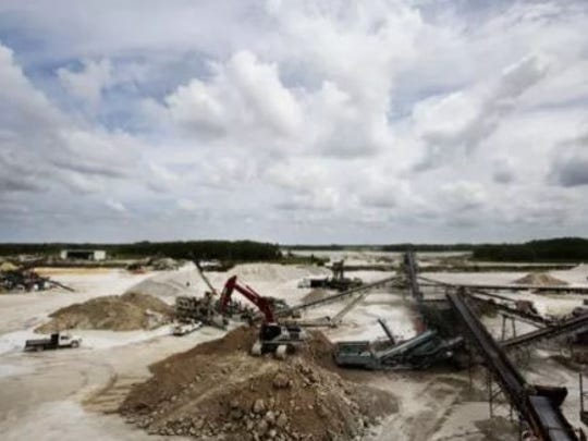 Lime rock mining in Bonita Springs can be seen in this file photo. Hearings are underway in Lee County on allowing a new 1,800-acre rock mine in the southeast county