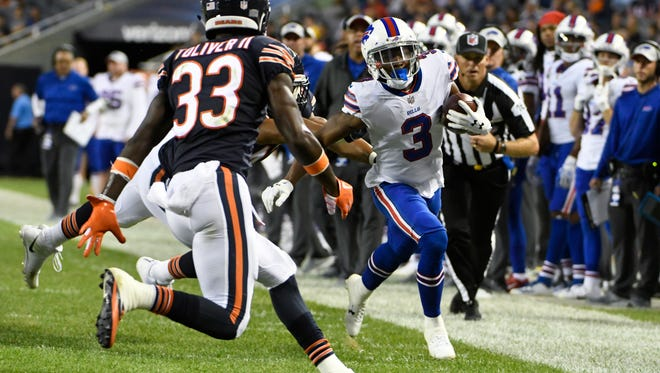 Buffalo Bills wide receiver Ray-Ray McCloud (3) cuts outside Chicago Bears defensive back Kevin Toliver (33) during the first half of an NFL preseason football game in Chicago, Thursday, Aug. 30, 2018. (AP Photo/David Banks)
