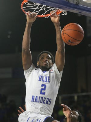 MTSU's Perrin Buford (2) expects to be locked on Michigan State standout Denzel Valentine.
