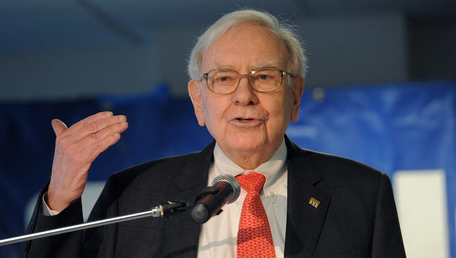 Warren Buffett at a July ribbon cutting of a Geico call center in Carmel, Ind.