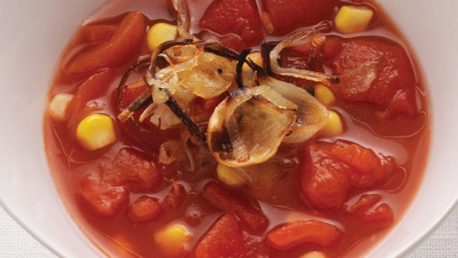 Chunky Tomato Soup With Sweet Corn and Crispy Shallots.