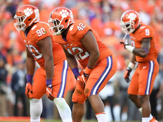 Clemson's jumbo package Clemson defensive linemen Dexter Lawrence (90), and Christian Wilkins (42) during the 1st quarter on Saturday, November 12, 2016 at Clemson's Memorial Stadium.