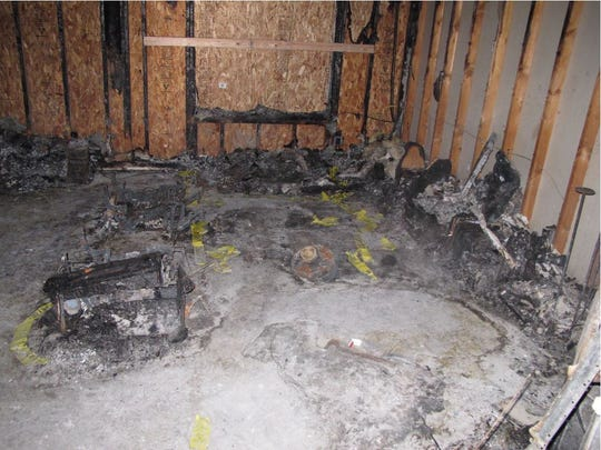 This photo shows some of the fire damage inside the Mason condo where a man was killed two days before Christmas in 2013.