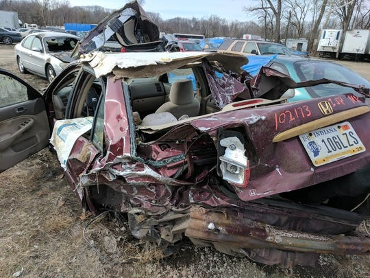 The wreckage of David Kriehn's car after he was struck and killed by a drunken driver Feb. 13, 2017. Elizabeth Vargas-Hernandez, who had been living in the U.S. illegally, pleaded guilty and is serving a four-year prison sentence.