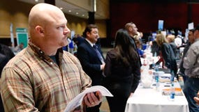Air Force veteran Brett Culver at a Recruit Military job fair in Oklahoma City. Young veterans have a harder time finding work.
