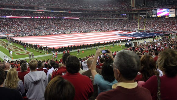 Veterans Day ceremony at a Cardinals game.