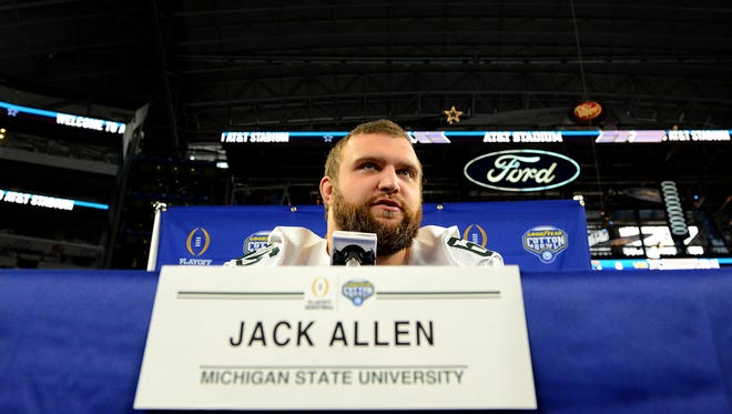 Spartans center Jack Allen talks to reporters during Cotton Bowl Media Day Tuesday.