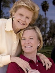 Susan Ford Bales, seated, with her mother Betty Ford.