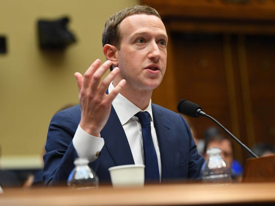Facebook CEO Mark Zuckerberg testifies before the House Energy and Commerce Committee in Washington on April 11.