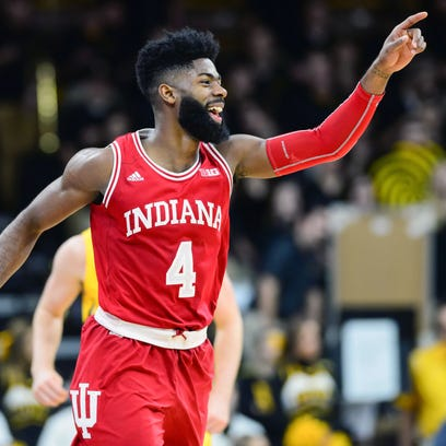 Indiana Hoosiers guard Robert Johnson (4) reacts during
