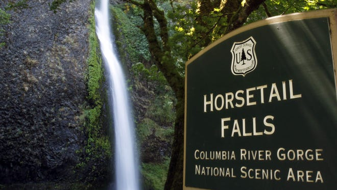 Horsetail Falls is shown in the Columbia River Gorge near Dodson, Ore.