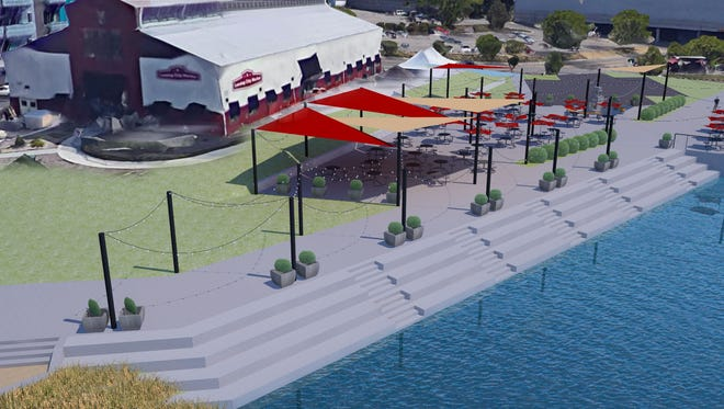 A rendering of proposed upgrades to the downtown riverfront near the City Market.