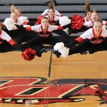 Plymouth literally got a leg up on the competition at the Mid-American Pom Camp at Davenport University. The team shared Grand Champs honors.