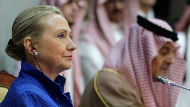 Hillary Clinton in Riyadh, Saudi Arabia, in 2012.