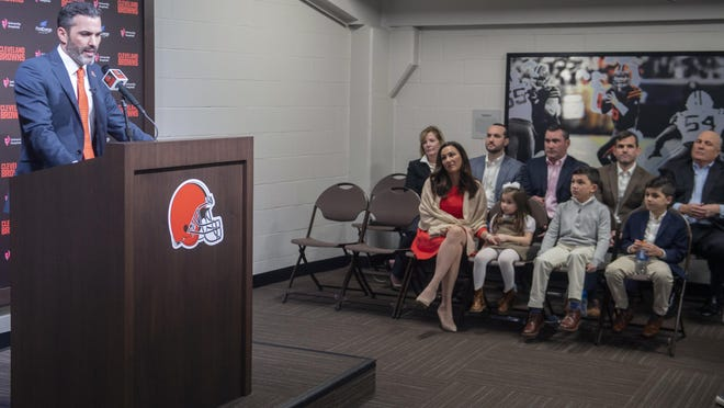 Browns new coach Kevin Stefanski answers a question during a news conference as his family listens at FirstEnergy Stadium in Cleveland on Jan. 14.