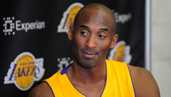 Los Angeles Lakers guard Kobe Bryant is interviewed during media day at Toyota Sports Center.