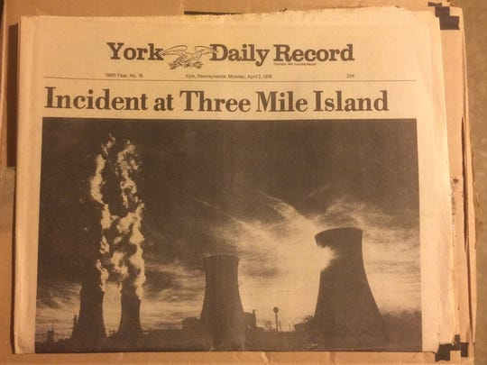 This York Daily Record front page covered the partial reactor meltdown at Three Mile Island in 1979. The photo was taken by then-YDR photographer Bil Bowden prior to the accident.