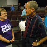 Hendersonville resident Kaye Crouch and Salvus Center Dr. Ted Hill chat after the Insure Tennessee informative meeting at First United Methodist Church in Gallatin on Monday.