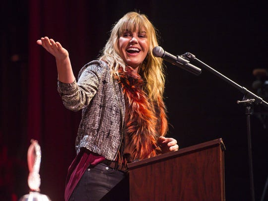 Grace Potter speaks after accepting the Governor's Award for Excellence in the Arts at Harwood Union High School, her alma mater, in Duxbury, Vermont, last December.