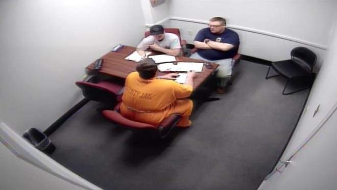 Todd Kohlhepp sits down with Spartanburg County investigators on Nov. 5, 2016 two days after his arrest.