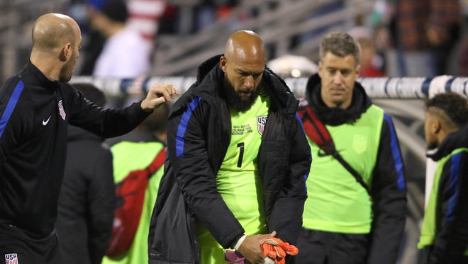 USA goalkeeper Tim Howard (1) leaves the game due to injury during first half action against Mexico match at MAPFRE Stadium on Nov. 11.