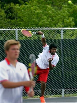 The doubles team of Sydan Parker (right) and Tucker Gabriel are key to Homestead's chances at the WIAA state team tennis tournament, which starts Friday in Madison