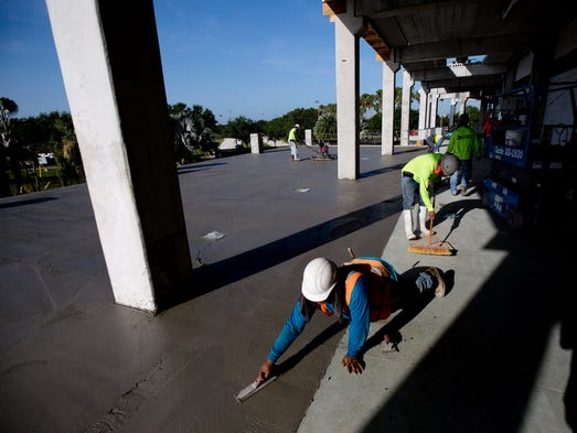 Ismael Ayadoro is part of a construction crew working for Manhattan Construction that is renovating Hammond Stadium.   During the renovation the Fort Myers Miracle are playing at JetBlue Park where the Boston Red Sox play during spring training.