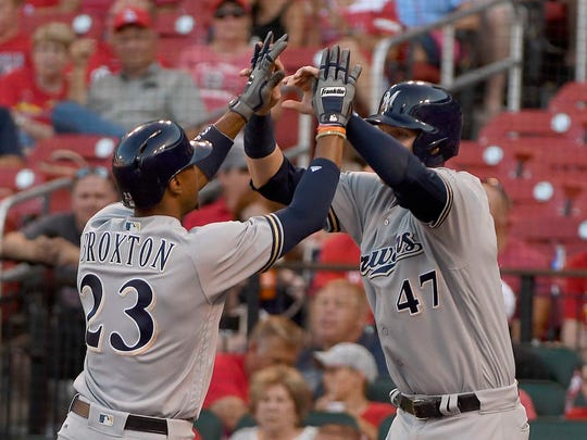 Keon Broxton is greeted by Jett Bandy after his long home run in the second inning.