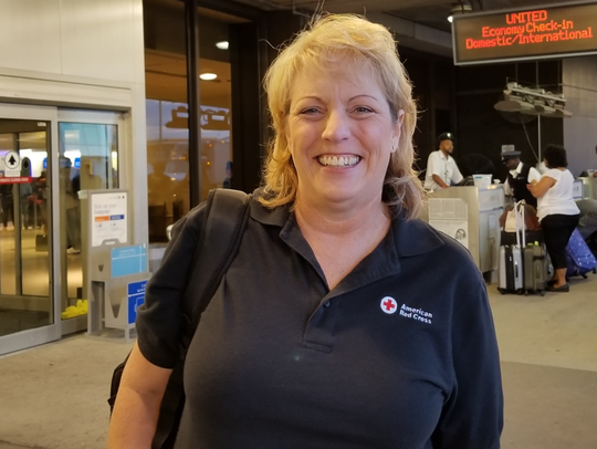 Clare Rybczynski at Newark Airport as she is being