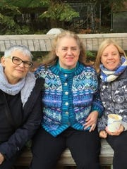 Pam, me and Karen sitting on one of those benches at lunchtime. They had pumpkin soup; I had chicken soup.