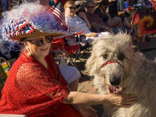 Molly Tocco, of Westland, meets Rory, an Irish Wolfhound.