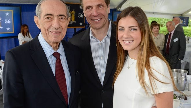Former Gov. Mario Cuomo, current Gov. Andrew Cuomo and granddaughter and daughter, respectively, Michaela Kennedy Cuomo.
