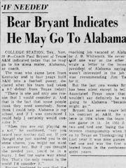 An article in the Montgomery Advertiser that speculates about Bear Bryant's return to Alabama.